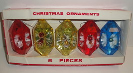 1960 VINTAGE JEWELBRITE CHRISTMAS ORNAMENTS SET 3d Flowers Decor Plastic... - $26.84