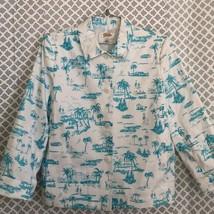 Talbots petite white turquoise tropical blazer - $39.60