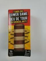 Tumbling Tower Stacking Game Wooden Mini Travel Size, 36 Wood Blocks Str... - $9.50