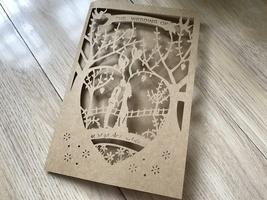 kraft paper brown Laser cut Wedding Invitation,50pcs Engagement Invitati... - $54.40