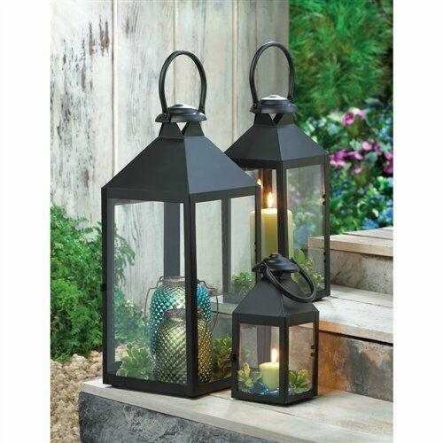 Revere Clear Glass Black Metal Medium Candle Lantern