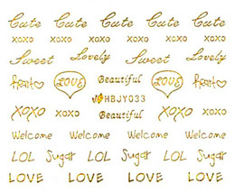 Nail Art 3D Decal Stickers Love Letter Writing Gold Xoxo HBJY033 - $2.99