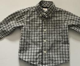 Gymboree Baby Boy Clothes, SZ 6-12 MO, Black, Gray, and White Plaid Oxford Shirt - $6.00
