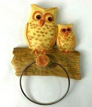 Vintage Owls on Tree Wall Hanging Towel Holder Ring Handmade Ceramic 1976 - $20.77