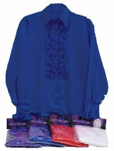 1970s BLUE SATIN SHIRT AND RUFFLES, DISCO, MENS FANCY DRESS COSTUME #US - $20.50