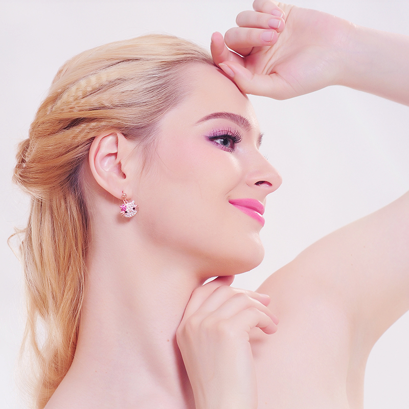 1 Pair Rose Gold Austrian Crystal Cat Flower Stud Earrings for Girls Women