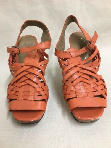 Primary image for Jessica Simpson Delanco Orange/Coral Open Toe Sandal Heel Shoe Size 7B /37