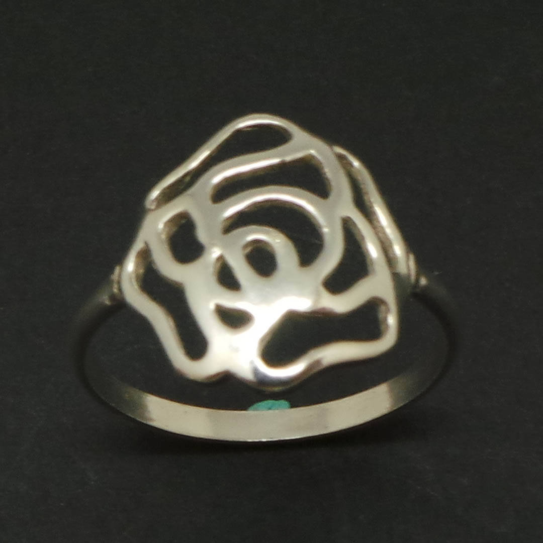 Handmade 925 Sterling Silver Flower Floral Rose Ring - Gift for her, wife or wom