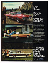 Vintage 1971 Magazine Ad Ford Torino Big Car Room Small Car Handling - $5.93
