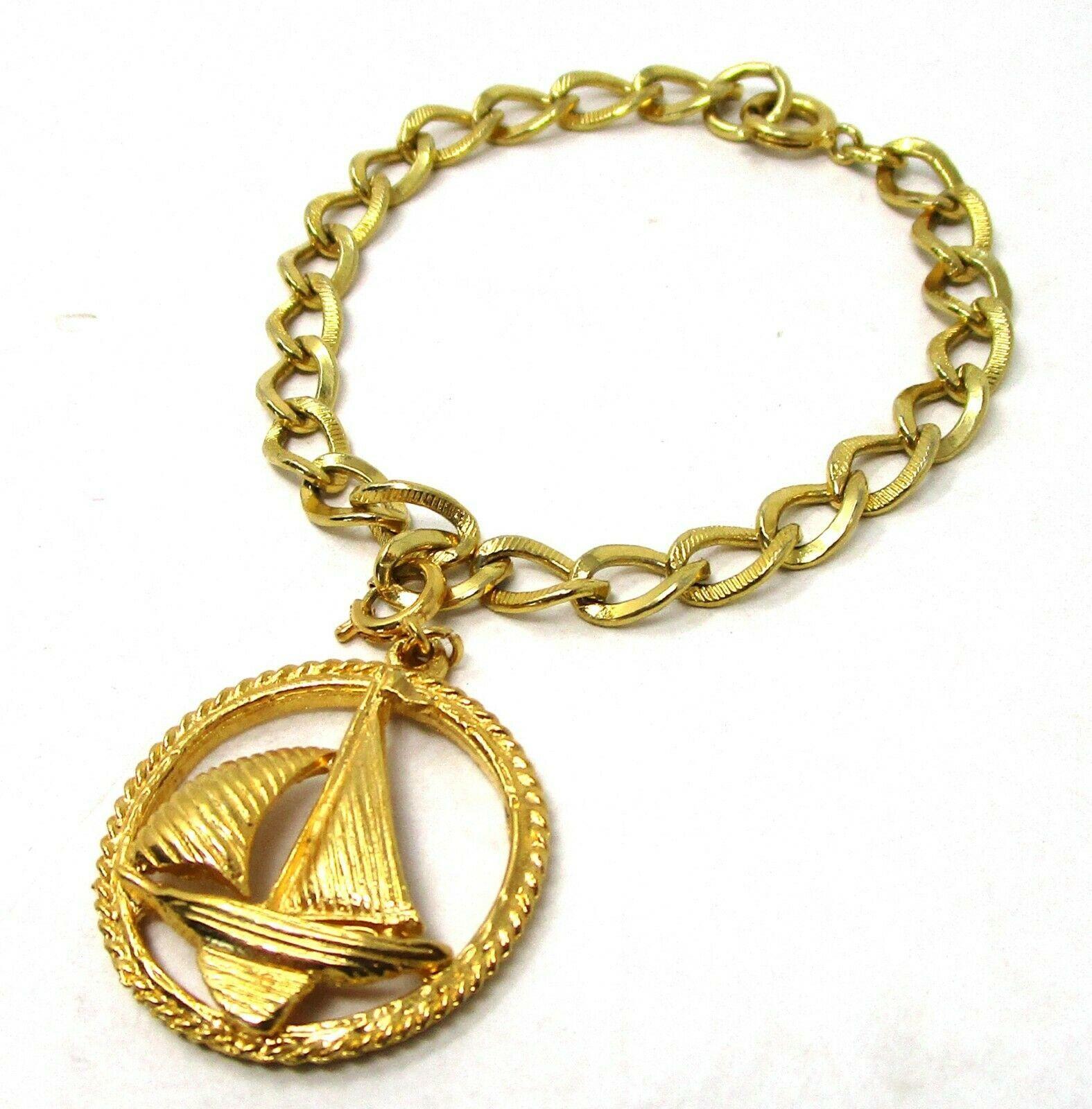 Vintage Roget Germany Charm Bracelet Sloop Sailing Sailboat Gold Tone - $39.60