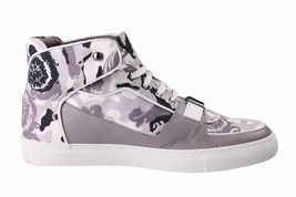 Versace Collection V900357 Grey Camo Print Hi Top Canvas Fashion Sneakers Shoes image 3