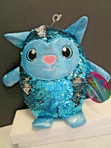 Shimmeez Stuffed Animal TOY CAT Reversible Sequins Aqua Blue to Silver NWT - $7.49
