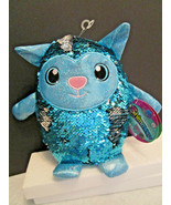 Shimmeez Stuffed Animal TOY CAT Reversible Sequins Aqua Blue to Silver NWT - $8.61