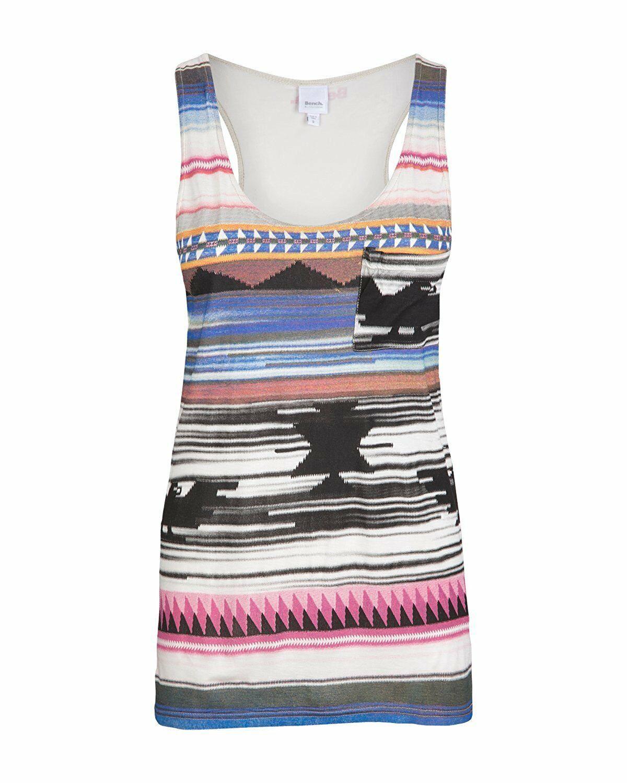 Bench Mujer Orian Nativo Camiseta Estampada Bolsillo Tanque Top BLGA2600 Nwt