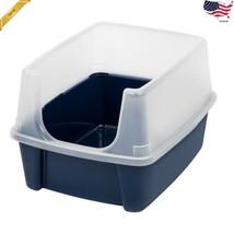 IRIS Open Top Cat Litter Box With Shield Regular Navy Pet Kitty Deep Tall - $27.58