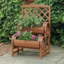Double Barrel Garden Planter Wooden Barrels with Trellis Outdoor Flower ... - €85,56 EUR