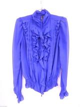 Bisou Bisou Sheer Royal Blue Sheer Polyester Full Zip Blouse Womens S NWOT - $23.52