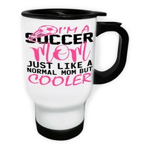 Soccer Mom Much Cooler White/Steel Travel 14oz Mug v767t - $17.79