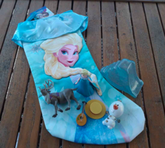 NEW Disney Elsa FROZEN Christmas Stocking + 6 Play Toy Figurines Olaf + ... - $8.90