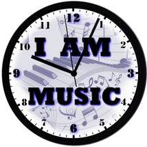 """I AM MUSIC"" 8in. Unique Homemade Wall Clock w/ Battery Included - $23.97"
