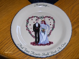 Home & Garden Party 2000 Marriage And Two Hearts Shall Beat As One Pie Dish - $39.97
