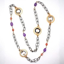 925 Silver Necklace, Burnished and Pink, Circles, Amethyst, Agate, Length 100 cm image 2