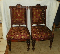 Pair Walnut Carved Renaissance Revival Parlor Chairs / Sidechairs  (SC159) - $899.00