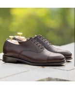 Handmade Men's Brown Color Leather Shoes, Cap Toe Dress Formal Lace Up S... - $179.99+