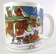 Artmark Christmas Mug Home for the Holidays 1991 Winter Sleigh in Retail... - $7.84