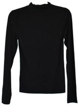 Forever 21 Solid Black Long Sleeve Mock Neck Plain Shirt Top Size M image 2