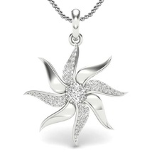 Fashion Jewelry Women's Fancy Pendant With Chain 14k White Gold Over 925 Silver - $48.99