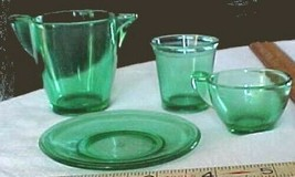 Akro Agate Childs Tea Set items-4 of them-all have logo-emerald green-t... - $25.77