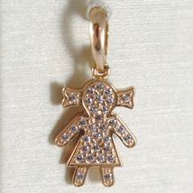 Pendant Gold Yellow, Pink or White 750 18k, Baby, Girl with zirconia, Italy image 3