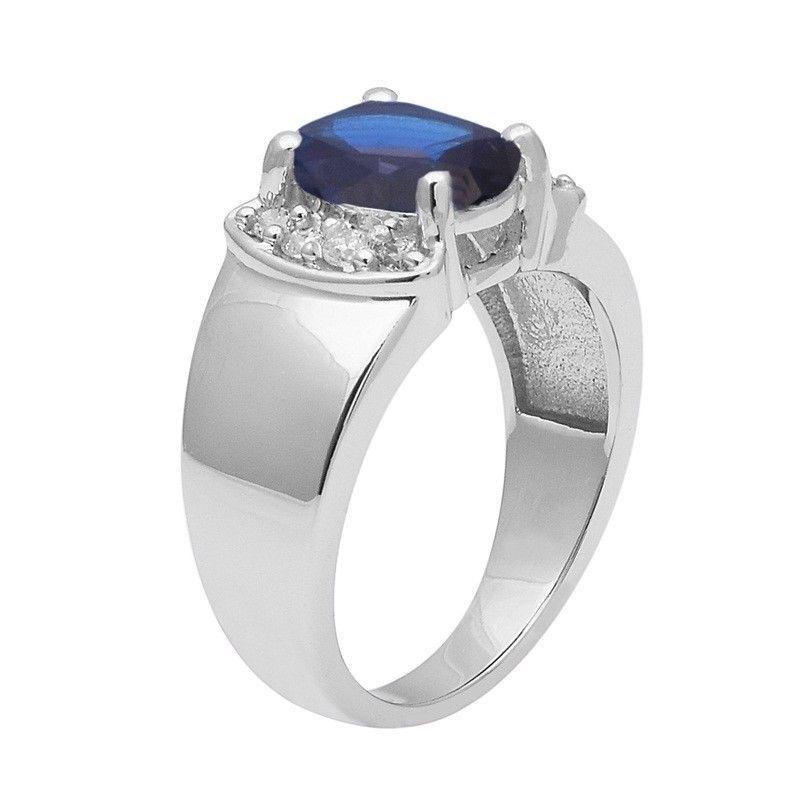 Blue Cz & White Topaz 925 Sterling Silver Ring Shine Jewelry Size-7.5 SHRI1404