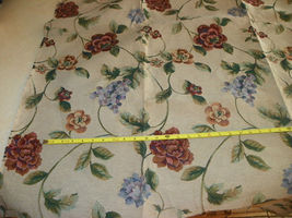 Tan Flower Grape Print Upholstery Fabric Remnant  F1106 - $29.95