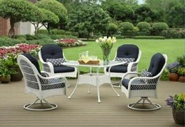 White Patio Dining Set 5 Piece Table 4 Chairs Outdoors Wicker Steel Blue... - $772.18