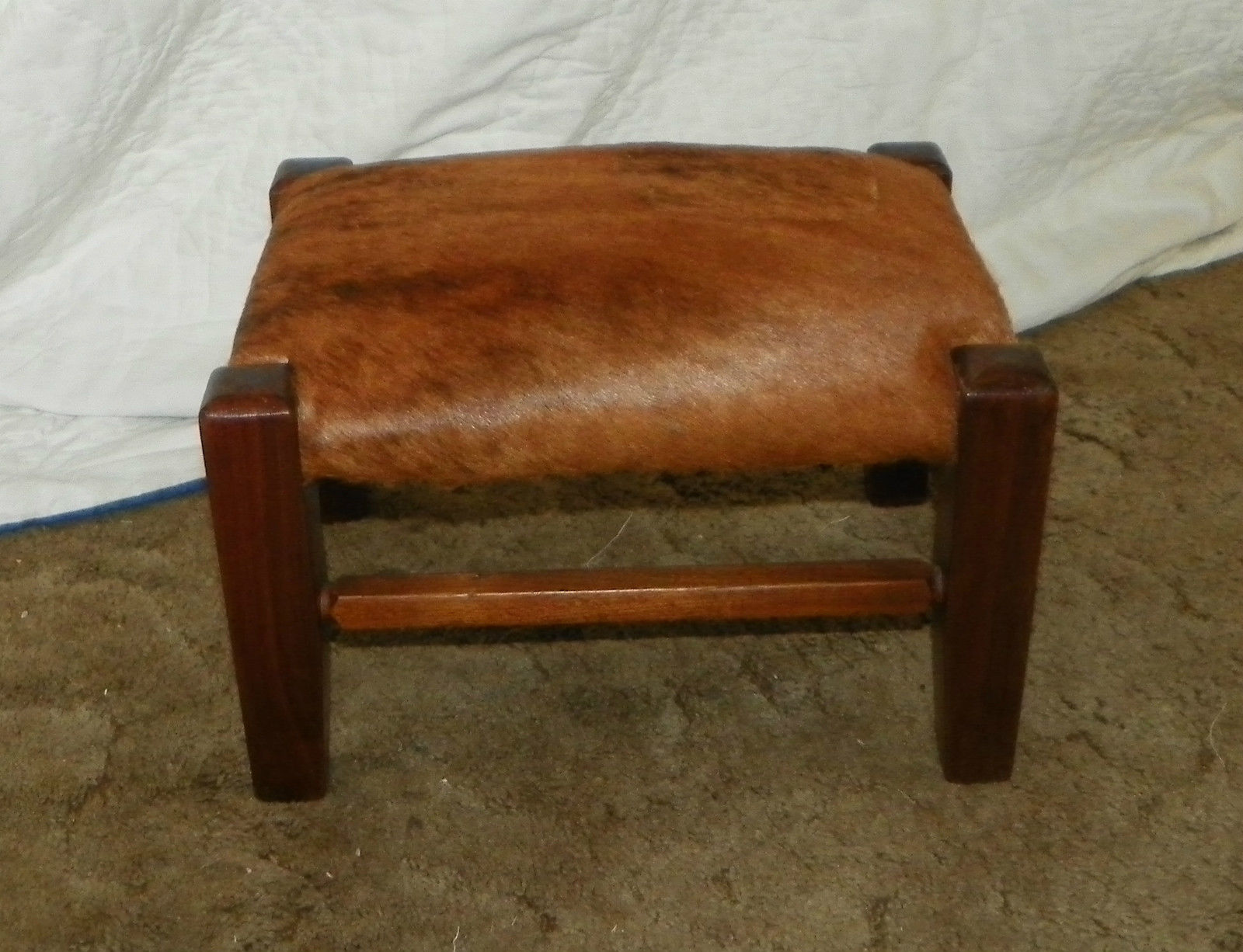 Walnut Mission Footstool / Stool with brown cowhide leather  (ST113) - $199.00