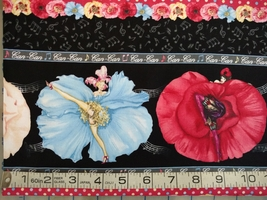 1/2 yd music/Can-Can dancers on black quilt fabric -free shipping image 2