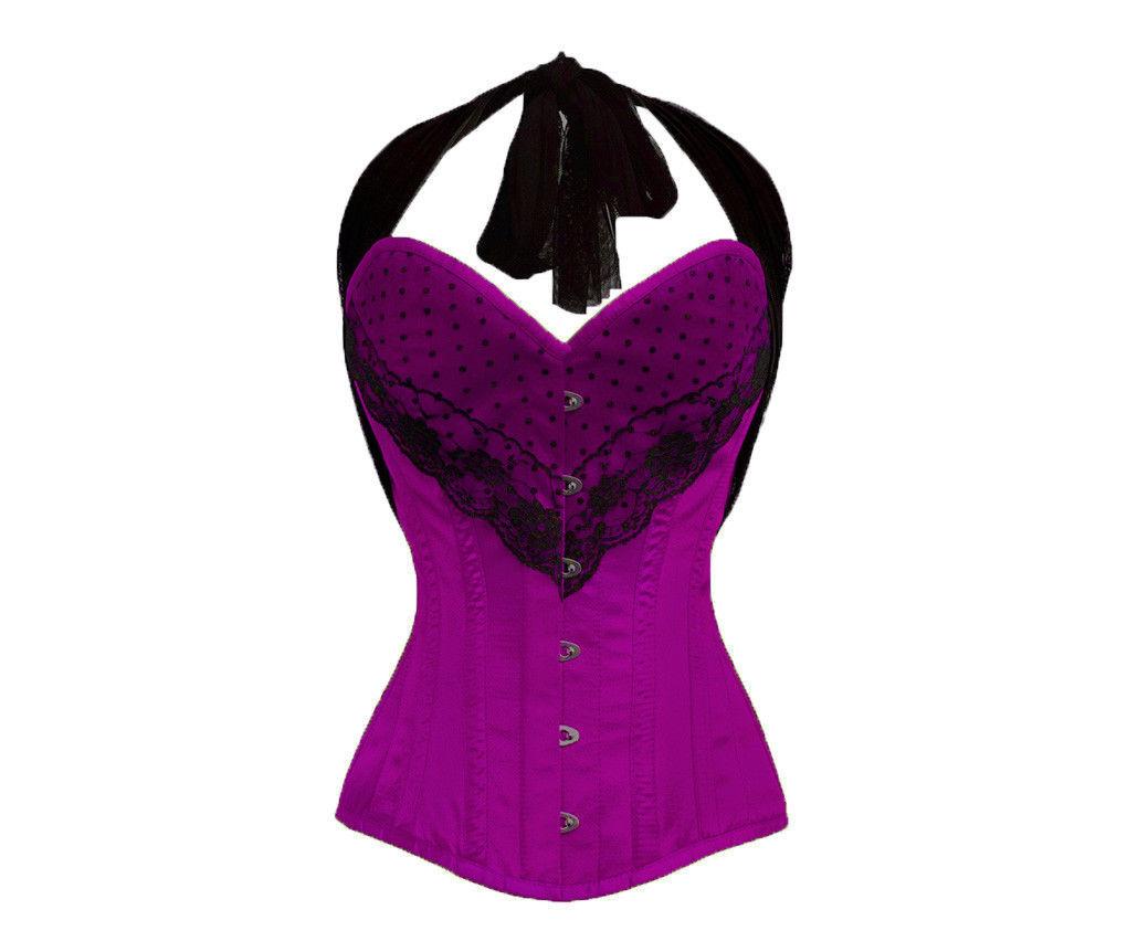 Pink Satin Net Lacing Burlesque Bustier Waist Training LONG Overbust Corset Top