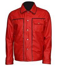 Men Elvis Presely King of Rock & Roll Rockstar Red Leather Jacket image 1