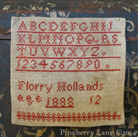 Florry Hollands 1888  cross stitch chart Pineberry Lane