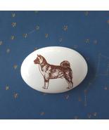Ceramic German Shepherd Plaque Small Oval White Brown Tiny Dollhouse Pic... - $16.78