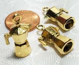 COFFEE POT 3D CAST FINE PEWTER PENDANT CHARM ANTIQUE GOLD CS214AG image 2