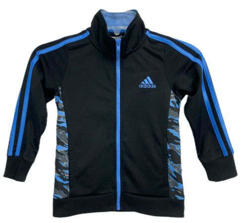 Adidas little boys sport jacket zip front black size 5 - $18.36