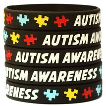 BLACK Autism Awareness Support Wristbands - Puzzle Piece Awareness Brace... - $6.81+
