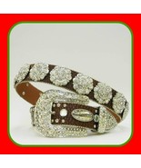 NEW Brown Rosette  Rhinestone Cowboy Girl  Western Buckle  ATLAS  Belt S... - $74.99