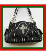 NEW DARK BLACK  MEGA BLING  WESTERN CROSS RHINESTONE PURSE BAG SACHEL TOTE  - $44.99