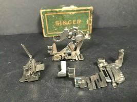 Vintage Singer sewing machine accessories, 5 sewing machine feet sewing ... - $41.08