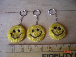 Beaded Key Chain - SMILE - HAPPY FACE - Lot of THREE (3) - $14.84
