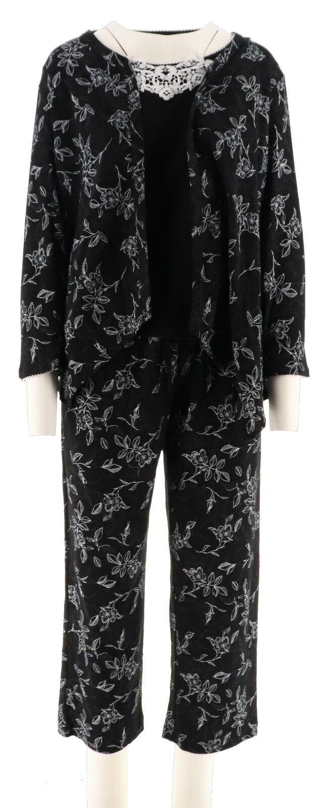 Carole Hochman Ripple Tiles Patio Pant 3-Pc PJ Set Black 3X NEW A302164